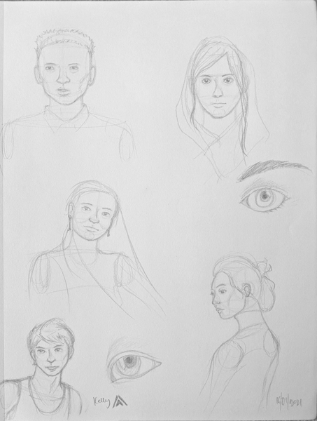 Drawing studies of human heads